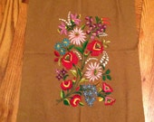 Vintage Hand Embroidered Wall Hanging Hungarian Flowers Kalocsa
