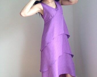 FALL SALE vintage 90s dress/ 1990s sundress / purple plus size sleeveless LOVEBOAT