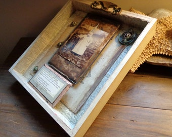 Assemblage Art OOAK FREE Shipping Unique Gift Collage Signed Cheryl Kuhn Shadow Box Style