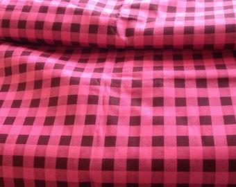 Vintage Gingham Check Print Fabric pink brown buffalo check