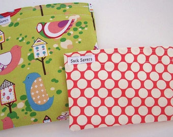Reusable Sandwich and Snack Bag Set Green Willow Wren and Red Polka Dots Eco Friendly