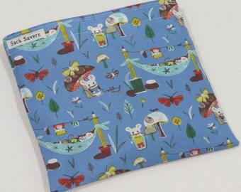 Reusable Sandwich And Or Snack Bag Woodland Mouse Camp Eco Friendly Reusable Bag