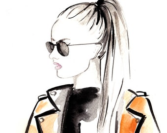Watercolour illustration Titled Top Ponytail