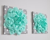 """Mint Wall Hanging Set -Mint Green Dahlia on Gray and White Polka Dot 12 x12"""" Canvas Wall Art- Flower Wall Art Set of TWO Home Decor"""