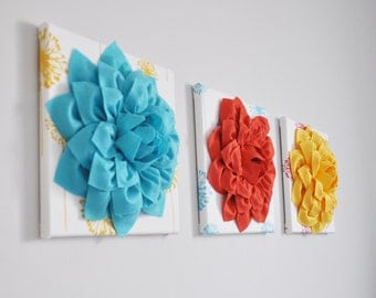 "Flower Wall Art - Dahlias on Turquoise, Yellow, Coral Dandelion Mixed Prints 12 x12"" Canvas Wall Art- Baby Nursery Wall Decor set of Three"