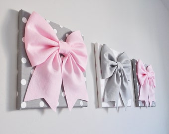 Baby Pink Bow Wall Art ~ Polka Dot Nursery Home Decor ~ Newborn Gift ~ Pink and Gray Bow Decor ~ Girls Room Wall Panels ~ Baby Shower Decor