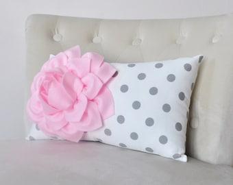 Recliner Pillows - Polka Dot Lumbar Pillow Light Pink Dahlia on White Gray Polka Dot Home Decor Pillow 9 x 16
