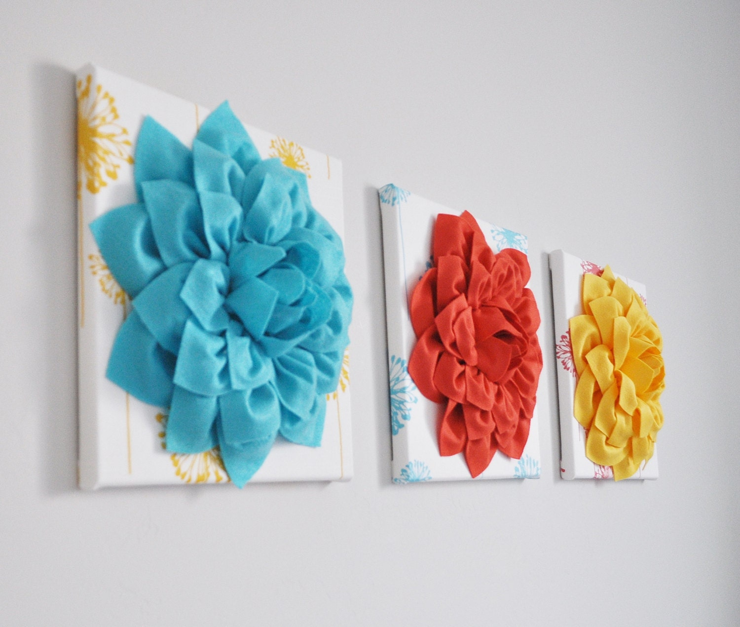 Flower wall art dahlias on turquoise yellow coral for Turquoise wall decor
