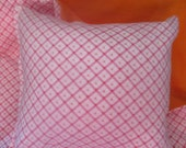 18 inch Doll Bedding, pink and orange doll blanket and pillow for doll like American Girl