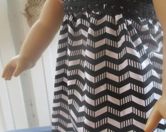 Chevron Dress or Nightgown, black and white chevron nightgown for 18 inch dolls