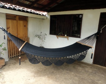 DOUBLE  HAMMOCK- Black Solid Color- 100% Cotton Thread- Excellent quality and Durability-Custom Combinations Available!Ships from Nicaragua-