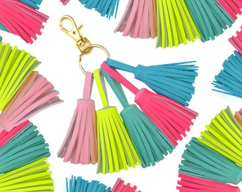Tassel Keychain, Leather Tassel Purse Clip, Tassel Clip, Tassel Key Ring, Clip On Tassels, Tassel Purse Charm, Neon Fringe Key Chain