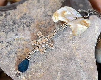 FREE SHIPPING---Mother of Pearl Apatite Starfish Necklace---Sterling Silver---Creations by Sandy