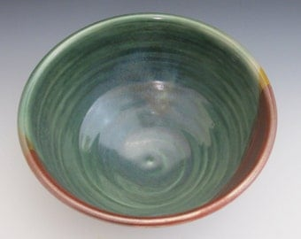 Serving bowl / pottery / handmade / wheel thrown / green bowl / high fired / reddish brown