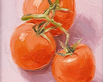 red tomato kitchen art oil painting giclee print - 5x7 - Vine Ripened - The Italian Collection