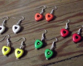 Red Hearts, Yellow Hearts, Orange Hearts, Green Hearts, White Hearts Earrings