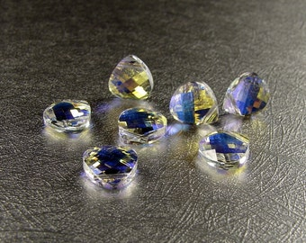 2 Swarovski 6012 11 x 10 mm Flat Briolette Crystal AB Aurora Borealis Pendants Pendant | Set of 2