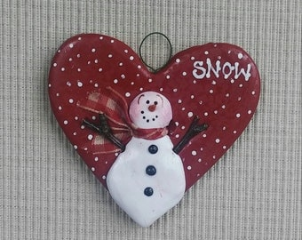 """hand sculpted polymer clay red heart """"SNOW' ornament"""