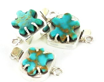 Mcginnis Turquoise Carved Turtle Clasp Sterling New World Gems