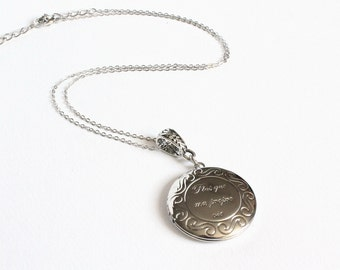 Plus que ma propre vie (more than my own life) silver locket necklace