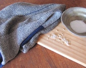 Rustic Blue French Country Farmhouse Kitchen Towel, Home Decor Artisan Gourmet Chef Towel, Hand Woven Cotton Towel, Mom Foodie Cooking Gift