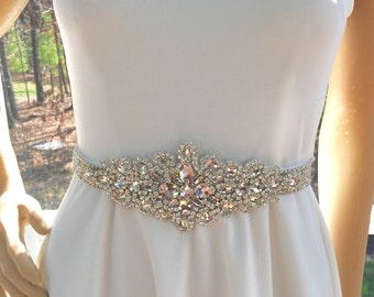 Beaded Bridal Sash, Rhinestone Crystal Sash, Wedding Gown  Accessory, Wedding Gown Sash, Wedding Gown Belt
