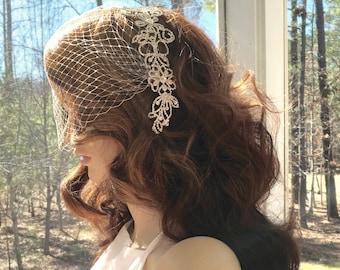 Bandeau Birdcage Veil, Wedding Blusher Veil, Rhinestone Bridal Veil