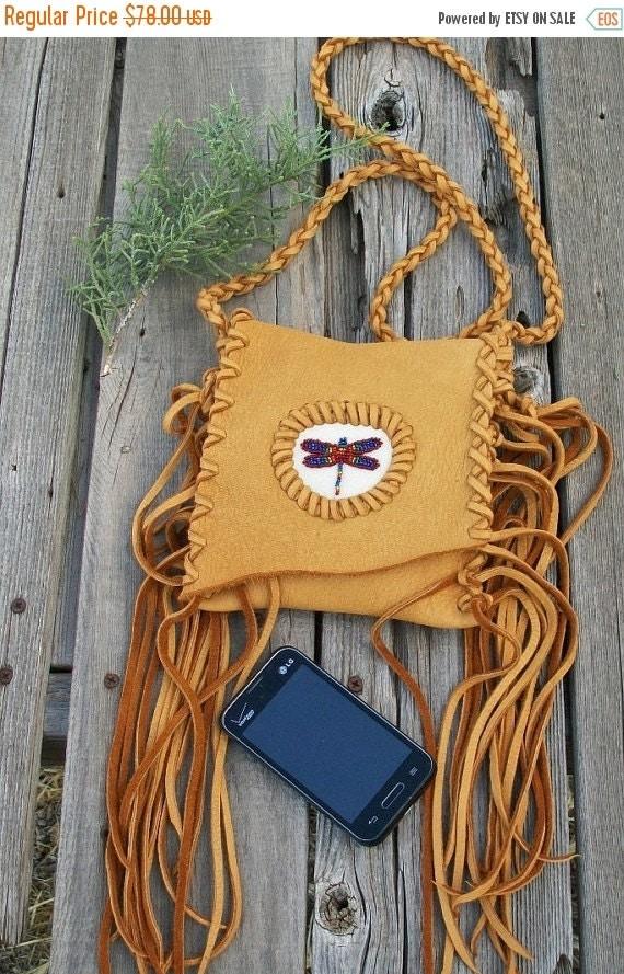 ON SALE Fringed phone bag with dragonfly totem , Crossbody bag , Leather handbag