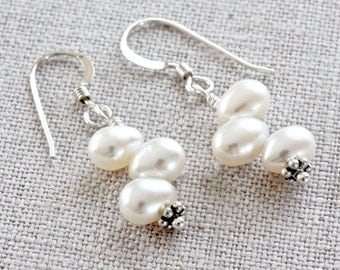 White Freshwater Pearl Earrings, Pearl Dangle Earrings, White Pearl Drop Earrings, Sterling Silver Earrings, White Pearl Earrings for Women