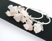 Rose Quartz Earrings - Silver Hoop Earrings - Silver Dangle Earrings - Gemstone Earrings Rose Quartz Jewelry Beaded Jewelry Handmade Jewlery