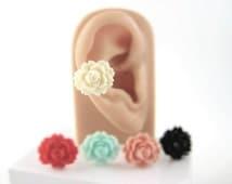 Flower Ear Cuff Non Pierced - Rose Ear Cuff - Sweet Lolita Jewelry - Pastel Fairy Kei Earring - Romantic Jewelry Large Victorian Earcuff