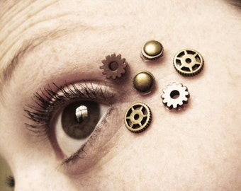 Eye Decals Womens Steampunk Clothing - Steampunk Accessories - Steampunk Mask - Clock Part Stempunk Gears 6pcs 09A