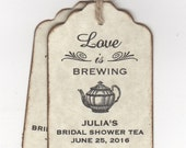 Custom Listing For Veronique - 30 Love Is Brewing Wedding Bridal Shower Tea Favor Thank You Label Tags - Rustic Vintage Style