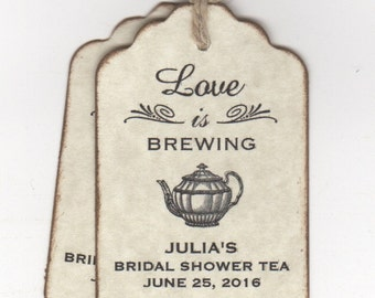 50 Love Is Brewing Wedding Bridal Shower Tea Favor Thank You Label Tags - Rustic Vintage Style
