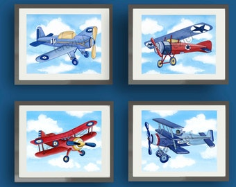 Airplane nursery art, vintage airplanes art prints, airplane bedding pictures, boy nursery art