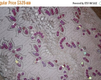 """ON SALE 10% off 1 yard pale lilac lavender Stretch galloon lace iridescent sequins 12"""" wide"""
