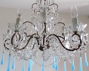 Blue opaline chandelier Italian vintage 9 lights