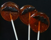 Pomegranate Pineapple and Prosecco Lollipops - with chocolate bats! Vampire full moon - Halloween Samhain Handmade Candy