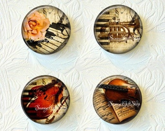 "Musical Instrument Magnets, Choose your Favorite from the 4 Different Prints, 1.5"" Size, Set of 4 Magnets, Buy 3 Sets Get 1 Set Free 181M"