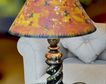 Lacoona Indian Summer - circa 1890-1920 Indian Kashmiri lacquer lamp, custom painted lamp shade of Victorian/Aesthetic Movement inspiration