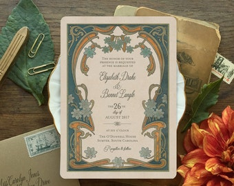 Wedding Invitations, Wedding Invitation Set, Art Deco Wedding, Elegant Wedding Invitation, Art Nouveau Inspired - Le Marguerite