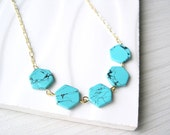 Turquoise Jewelry, Gold Necklace, Modern, Hexagon, Geometric, Simple, Nickel Free Sterling Silver Option