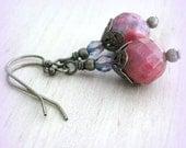Speckle Pink Earrings Filigree Earrings Boho Earrings Gypsy Jewelry Victorian Jewelry Victorian Earrings Wife Girlfriend Gift