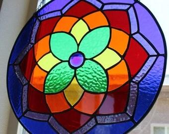 STAINED GLASS Suncatcher-Rainbow Window Panel Decoration, Round Glass Medallion, Rainbow Window Decor, Wedding Gift, Tie Dye, Hippie, LGBT