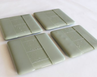 FUSED GLASS COASTERS -Sage Willow Green Drink Coasters, Under 25, Coasters for Drinks, Gift for Coworker, Wedding Gift, Unique Hostess Gift
