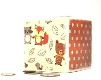 Autumn Friends Wood Bank, Piggy Bank, Wooden Coin Bank, Money Box, Coin Box, Fox, Deer, Bear, Savings, Pumpkin, Woodland, Fall