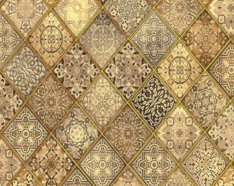 Heavenly from Quilting Treasures - Full or Half Yard Diagonal Filigree Patch Ornate Gold Taupe Charcoal