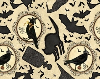 Halloween Cream Black Black Cats, Ravens, Bats - Come Sit a Spell from Wilmington Prints - Full or Half Yard