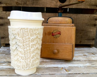 Coffee Cozy, Coffee Sleeve, Cable Knit Coffee Cup Sleeve in Cream, Travel Cup Cozy, Travel Mug Cozy, Off white Tweed, Oatmeal