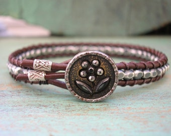 Skinny silver and leather bracelet - Skinnies - boho jewelry, fine sterling silver, antique button, wrap bracelet, bohemian artisan jewelry